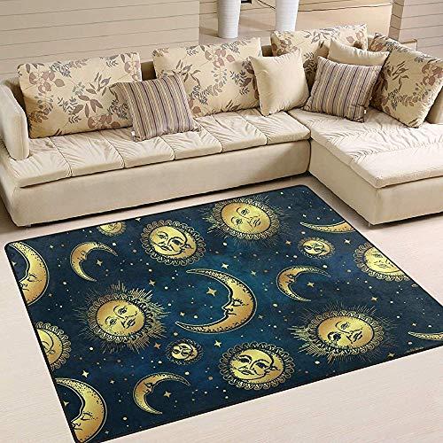 Alfombras De Área Cuerpos Celestes Dorados Estrella De La Luna Alfombrilla Azul Marino Sala De Estar...