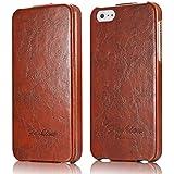 tinxi® Premium Kunstleder Tasche für Apple iPhone SE 5S Schutzhülle Flipcase Schale Cover Hülle Tasche Etui Skin UP DOWN in braun