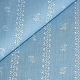 Trachtenstoff hellblau weißes Blumen Pflanzen Muster
