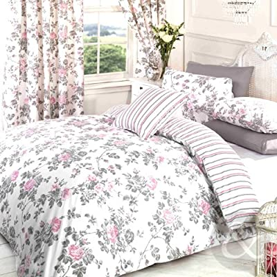 Vintage Floral Duvet Cover Poly Cotton Print Bedding Bed Quilt Cover Set - low-cost UK bedding shop.