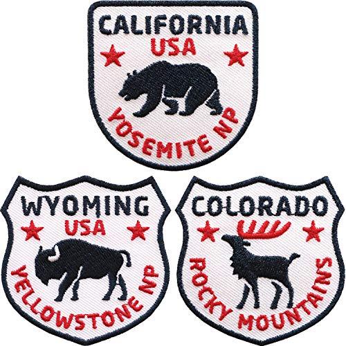 Club of Heroes 3er-Set USA Abzeichen gestickt 60 mm/Kalifornien Colorado Wyoming Amerika Reise/Aufnäher Aufbügler Flicken Sticker Patch/Reiseführer Yellowstone Yosemite