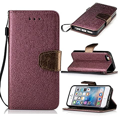 iPhone 5 5S 5G / iPhone SE Case Leather, Ecoway Silk grain PU Leather Stand Function Protective Cases Covers with Card Slot Holder Wallet Book Design for iPhone 5 5S 5G / iPhone SE - Red