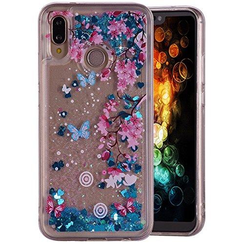 Für Huawei P20 Lite/Nova 3e, Amcor Love 3D Glitter Flüssigkeit glänzend Floating Sparkly Luxury Cute Abdeckung Transparent Hülle Quicksand Schutz Für Huawei P20 Lite Smartphone Pflaumenblüte