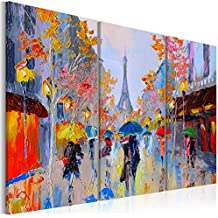 murando - Cuadro 120x80 cm - Impresion en calidad fotografica TOP - lienzo tejido-no tejido - Ciudad Paris City Torre Eiffel Francia - efecto de pintura d-B-0064-b-e