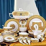 WeeLion Servizio da tavola, Bone China Set di Posate Piatti 56 Pezzi, Piatto Cucina Dinnerware Set, Servizio 8-10 Persone