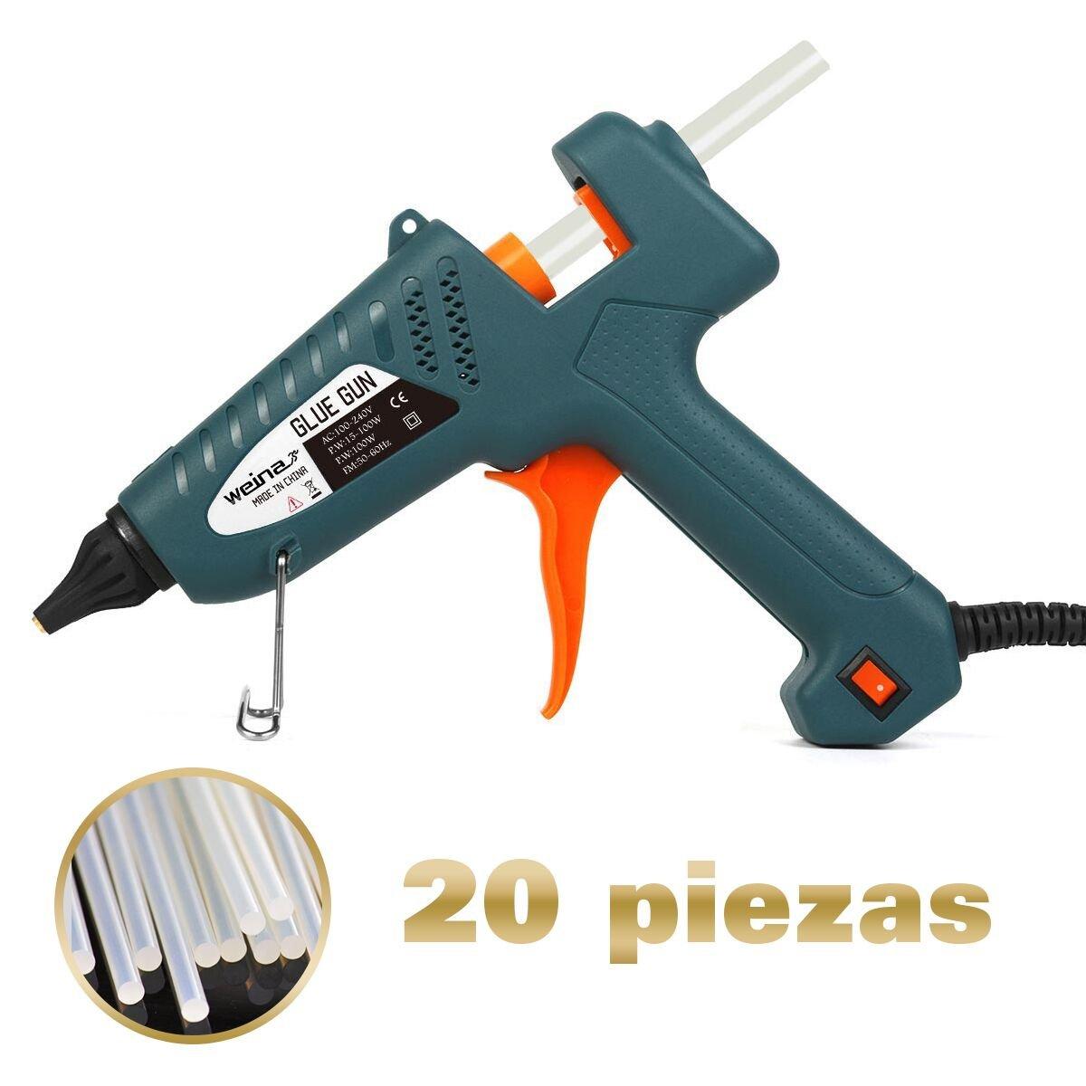 WEINAS 100-Watt Industriale Pistola Colla a Caldo Alta Temperatura Professionale con 20pcs Colla St