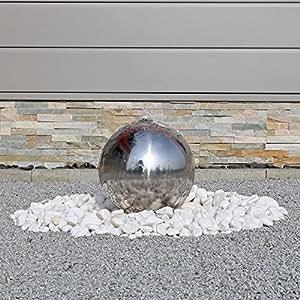 Springbrunnen esb3 aus edelstahl mit 30cm polierter edelstahlkugel kugelbrunnen for Gartenbrunnen kugel