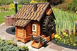 deko shop hannusch grand moulin eau d coratif en bois style maison en rondins tuiles en bois. Black Bedroom Furniture Sets. Home Design Ideas