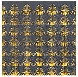Servietten Art Deco in antharzit grau & Gold-Muster / Tisch-Dekoration / Papier-Servietten / Party, Weihnachten, Advent, Geburtstag, Silvester & Hochzeit (20 Servietten)