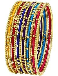 40dd5b28c379 Asmitta Artistically Multi-Color Handmade Gold Plated Set of 13 Bangles for  Women