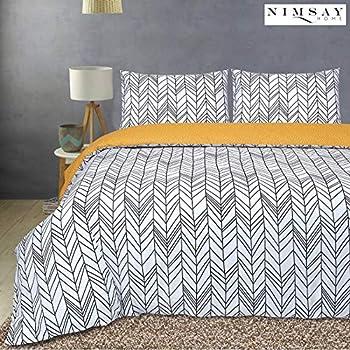 House Additions Yellow Grey Retro Circles Double Duvet Set 200cm W x 200cm L