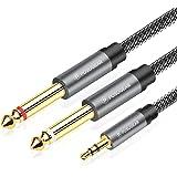 POSUGEAR 3.5mm Klinke auf Dual 6.35mm Mono Y AudioKabel 2M, Nylon Geflochten 6.35mm klinkenstecker auf 3.5mm Klinke Audio Spl