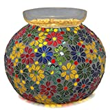 Homesake Persian Mosaic Leafy Glass Table Lamp, Desk Bedside Lamp Multicolor Light