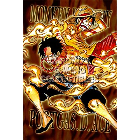 CGC enorme–Póster de One Piece anime Póster Wan P? Su–Luffy y Ace–one045, papel, 24