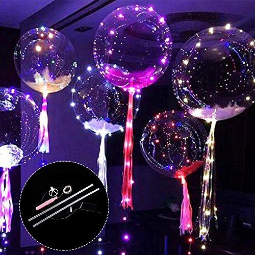 Bloomma Luftballons mit einschaltbaren LEDs, durchsichtig und zusammenfaltbar, 24 Zoll, ideal für Weihnachten, Hochzeiten, Halloween, Geburtstage, Dekoration für zu Hause 6PCS C