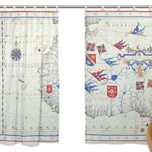 jstel 2pezzi Voile tenda di finestra, Vintage Mappa Impero Britannico XVI secolo Timel, Tulle Sheer Curtain Drape Valance 139,7x 198,1cm Set di due