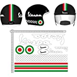 GamesMonkey Adesivi Casco Kit Vespa Bianco Strisce Italia Helmet Vinile Lucido Assortiti in Vinile
