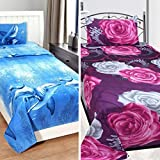 Sky Tex Super Saver Combo Of 2 Multi Color Cotton 280 TC Ethnic Single Bed Sheets With Pillow Covers