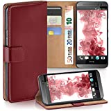 HTC One M8 Hülle Dunkel-Rot mit Karten-Fach [OneFlow 360° Book Klapp-Hülle] Handytasche Kunst-Leder Handyhülle für HTC One M8/M8s Case Flip Cover Schutzhülle Tasche