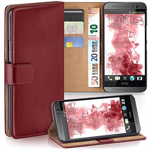 moex HTC One M8 | Hülle Dunkel-Rot mit Karten-Fach 360° Book Klapp-Hülle Handytasche Kunst-Leder Handyhülle für HTC One M8/M8s Case Flip Cover Schutzhülle Tasche
