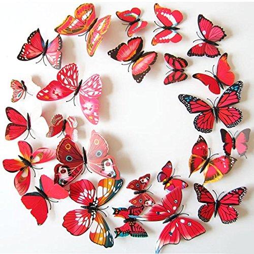 12 Art Decal-Home-Adesivi da parete motivo farfalle 3D, in PVC, motivo: decorazioni natalizie rosso