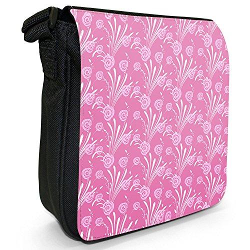 Fancy A Snuggle, Borsa a tracolla donna Hübsche pinke rosenartige Blumen