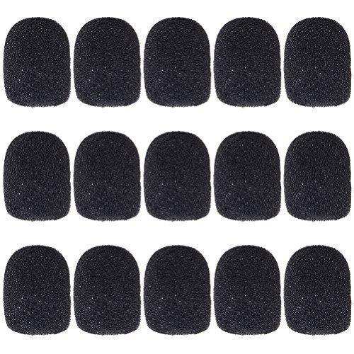 Wowot Ersatz-Windschutz für Mikrofon und Headset aus Schaumstoff, schwarz, 15 Stück
