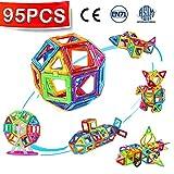 Crenova Magnetische Bausteine 95 Teiliger Bausatz Enthält Riesenrad Aufbewahrungstasche Büchlein Ideales Spielzeug als Geschenk für Kinder