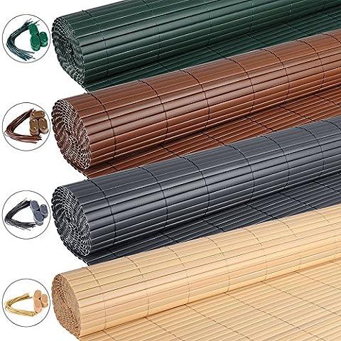 WOLTU GZZ1184br2 Canisse PVC pour jardin balcon terrasse,Tapis de dépistage PVC,Clôture de dépistage,Balcon clôture brise-vent,Stores Balcon,Clôture Auvent tapis de
