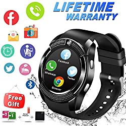 Bluetooth Smart Watch Waterproof Smartwatch With Camera Sim Tf Card Slot Touch Screen Phone Unlocked Cell Phone Watch Sports Smart Wrist Watch For Android Phones Samsung Ios Iphone Men Women Kids (V-black)