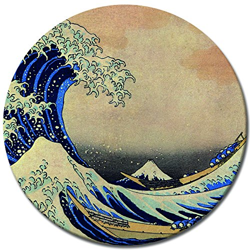 Wandbild Katsushika Hokusai Die große Welle vor Kanagawa - 50 cm rund - Alte Meister Berühmte Gemälde Leinwandbild Kunstdruck Bild auf Leinwand