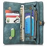 iPhone/Samsung Leder Handytasche Case Hülle Geldbörse mit Kartenfach abnehmbar Magnet Handy Schutzhülle für iPhone 6 /iPhone 6S in Blau