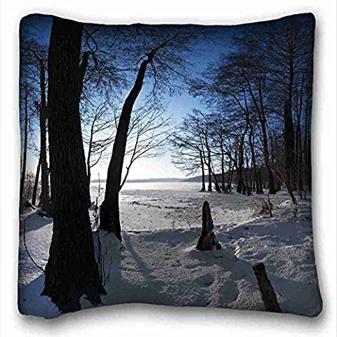 Generic Personalized ( Nature trees snows crust images winter trunks ) Custom Zippered Pillow Case 16x16 inches(one sides) from Surprise you suitable for King-bed PC-Yellow-10881