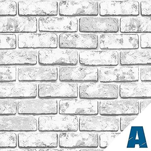 Artesive ST-04 Briques Gris 50 cm x 2,5 mt. - Film Adhésif avec effet de la pierre autocollant largeur en Vinyle pour la maison, la décoration, meubles, porte et toutes les surfaces lisses.