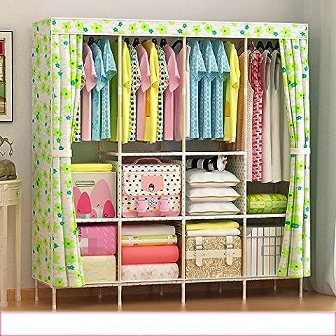 Doppelte Massivholz einfache Kleiderschrank Lagerung verstärkte Stoff Schrank Falten Montageschrank ( Farbe : 2 )