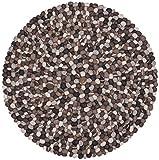 myfelt Hardy Filzkugelteppich, rund, Schurwolle, grau, Ø 90 cm