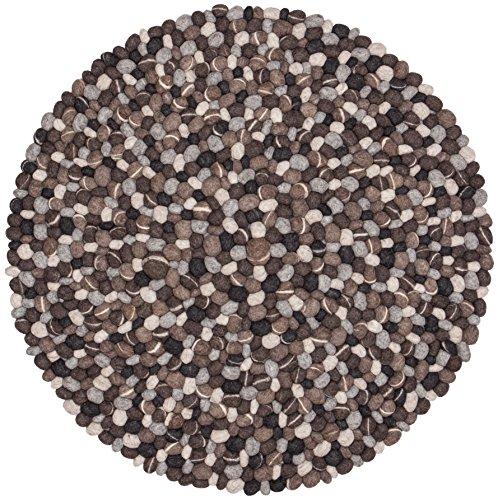 myfelt Hardy Filzkugelteppich, rund, Schurwolle, grau, Ø 50 cm