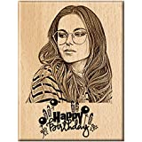 Engraveindia Happy Birthday Unique Personalized Wooden Engraved Plaque| Frame for Gift (5X4)