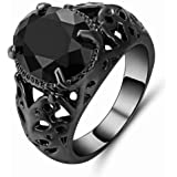 Men's ring black rhodium-plated with black sapphire Gemstone size US 9