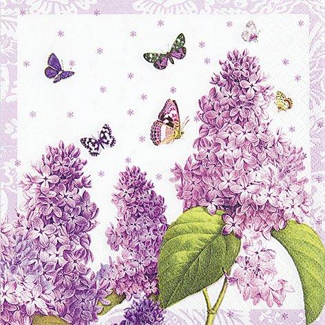 20 Servietten Painted Lilac - Frühling ganz in Lila / Blumen 33x33cm -