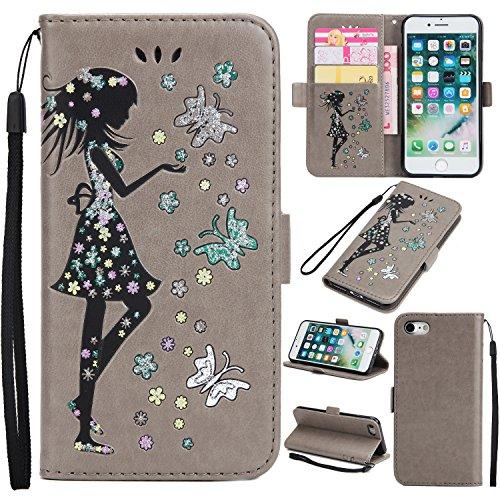 Coque iPhone 7,Coque iPhone 7 Plus, Coque iPhone 6/6S, Coque iPhone 6Plus/6S Plus, Coque iPhone 5/5S/SE, [Porte-cartes] étui Protection en Cuir Portefeuille multi-Usage Housse Rabattable(LXT-04) G