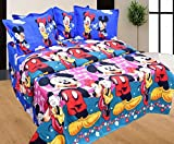 #5: Stop N Shop Mickey Mouse Cartoon Printed Heavy Glace Cotton Double Bed Sheet (Size_90 X 100 Inches) With Two Pillow Cover (Size_17 X 27 Inches)
