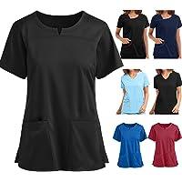 PJQQ Scrub Top,Women's Workwear Tops Stretch Mock Wrap Shirt Short Sleeve V-Neck Mock Wrap Top Working Uniform…