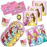Princess Prinzessin Partyset 48tlg. Teller Becher Servietten Tüten Karten für 6 Kinder