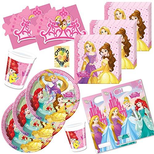 HHO Princess Prinzessin Partyset 76tlg. Teller Becher Servietten Tüten Karten für 12 Kinder
