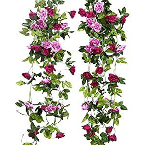 JUSTOYOU 2 Pack 7.8FT 13 Cabezas de Doble Color Artificial Falso Rose Garland Vides Colgando Flores de Seda para la…
