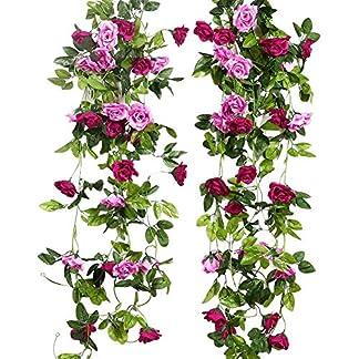 Guirnalda artificial Justoyou para colgar, decoración artificial Viña rosada para boda, paquete de 2 unidades