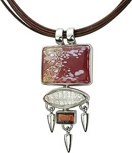 Gabriella Nanni, Collana in cotone cerato con pendente in argento 925 e Vetro di Murano - Collezione Sunset - Collana con Rettangolo e Gocce in Argento