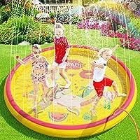 Peradix Tappetino Gioco d'Acqua per Bambini, 170cm Spruzzi e Splash Tappeto Gioco d'Acqua da Giardino, Gioco da Giardino...