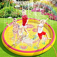 Peradix Splash Pad 170CM Tapete de Agua 2 en 1 Chapoteo Almohadilla Aspersor de Juego PVC Salpica *10 Fichas de Jueg Agua para Actividades Juegos Aire Libre para Niños Familiares/Playa/Jardín